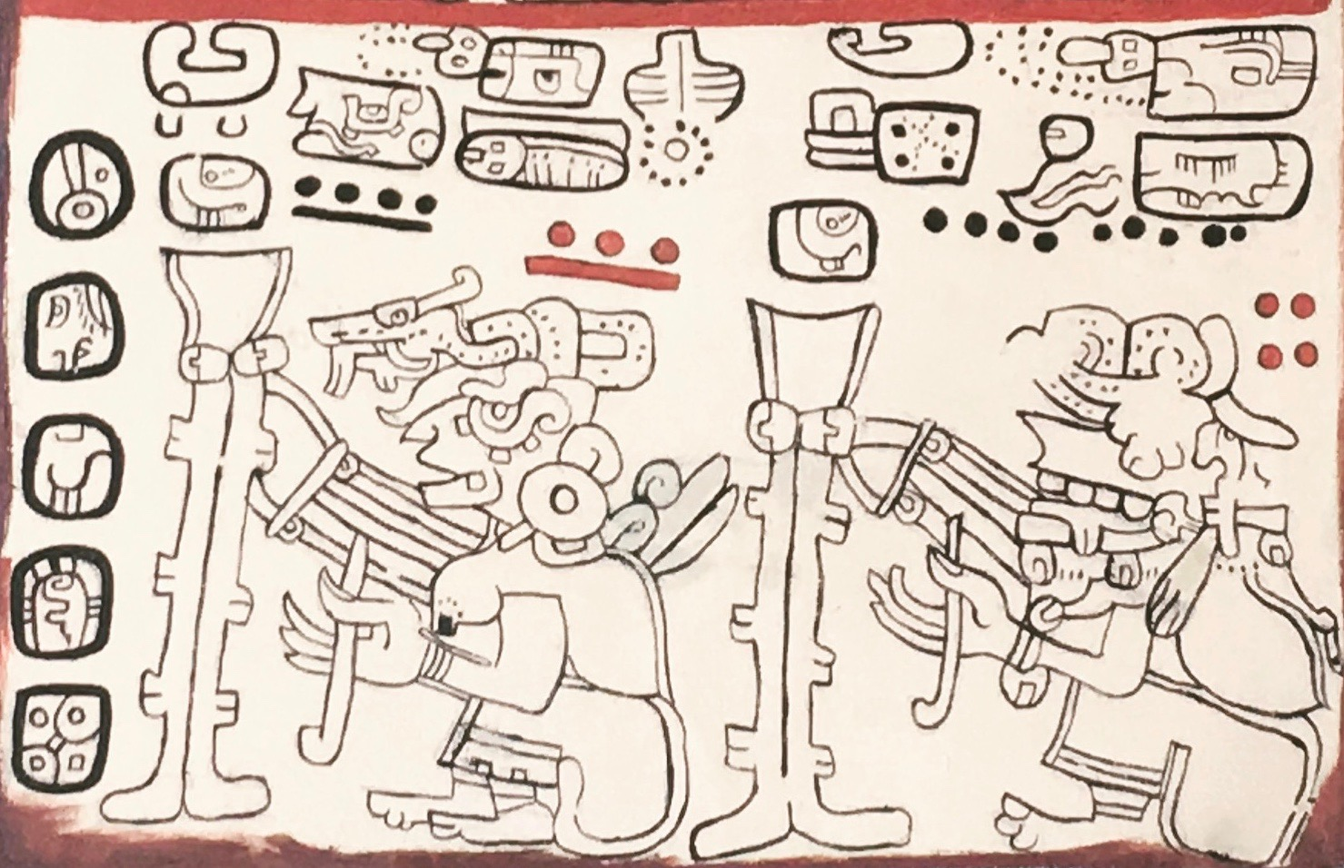 Hieroglyph of a female weaver on a backstrap loom found in the Mayan Codex, known as the  Madrid Codex .
