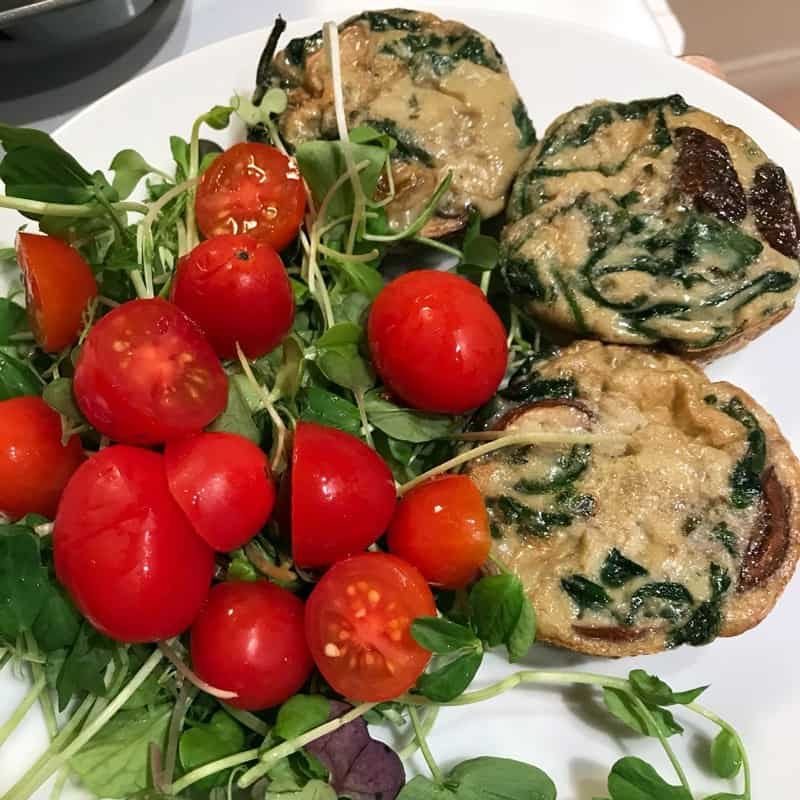 mushroom-quiches-with-salad