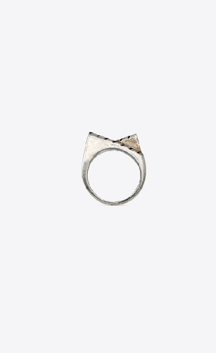 Two-Slope Striped Ring In Brass in Oxidized Silver