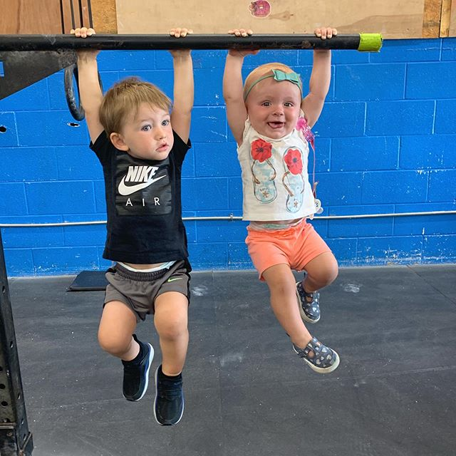 Workout with your kids. They're not excuses.. They are sponges. — Lead by example. Happy healthy parents yield happy healthy children. —  2 youngest k3crossfitters-  19 months and 11 months