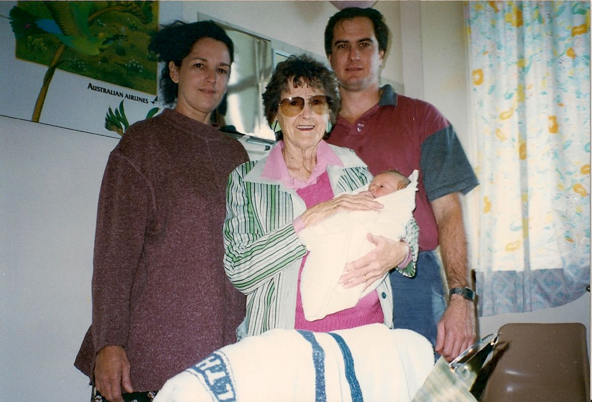 Four generations - my grandmother (left), great-grandmother (centre) and father (right) pose for a picture just after I was born in August '95