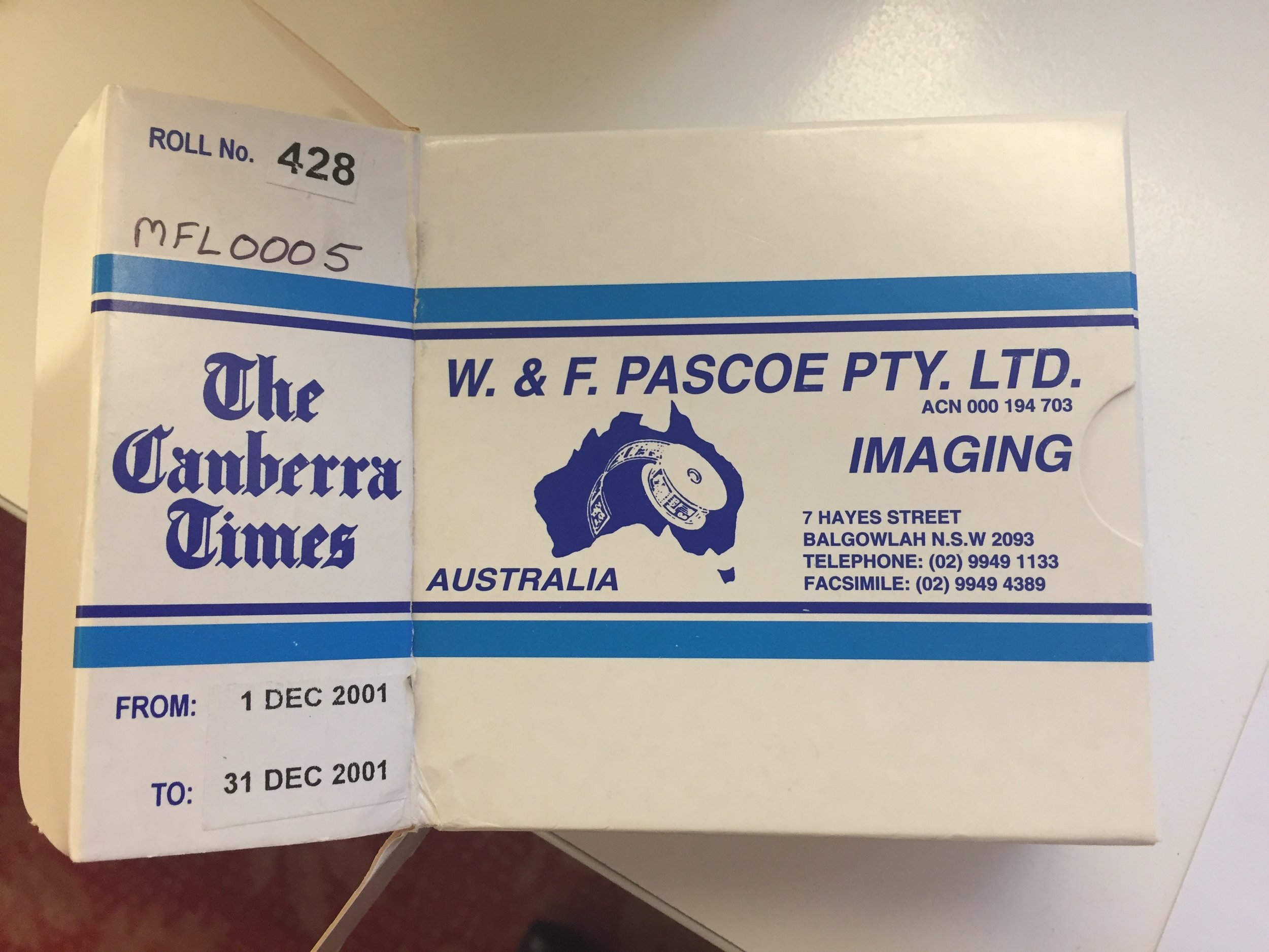 An example of a microfilm reel box, 5 August 2019.