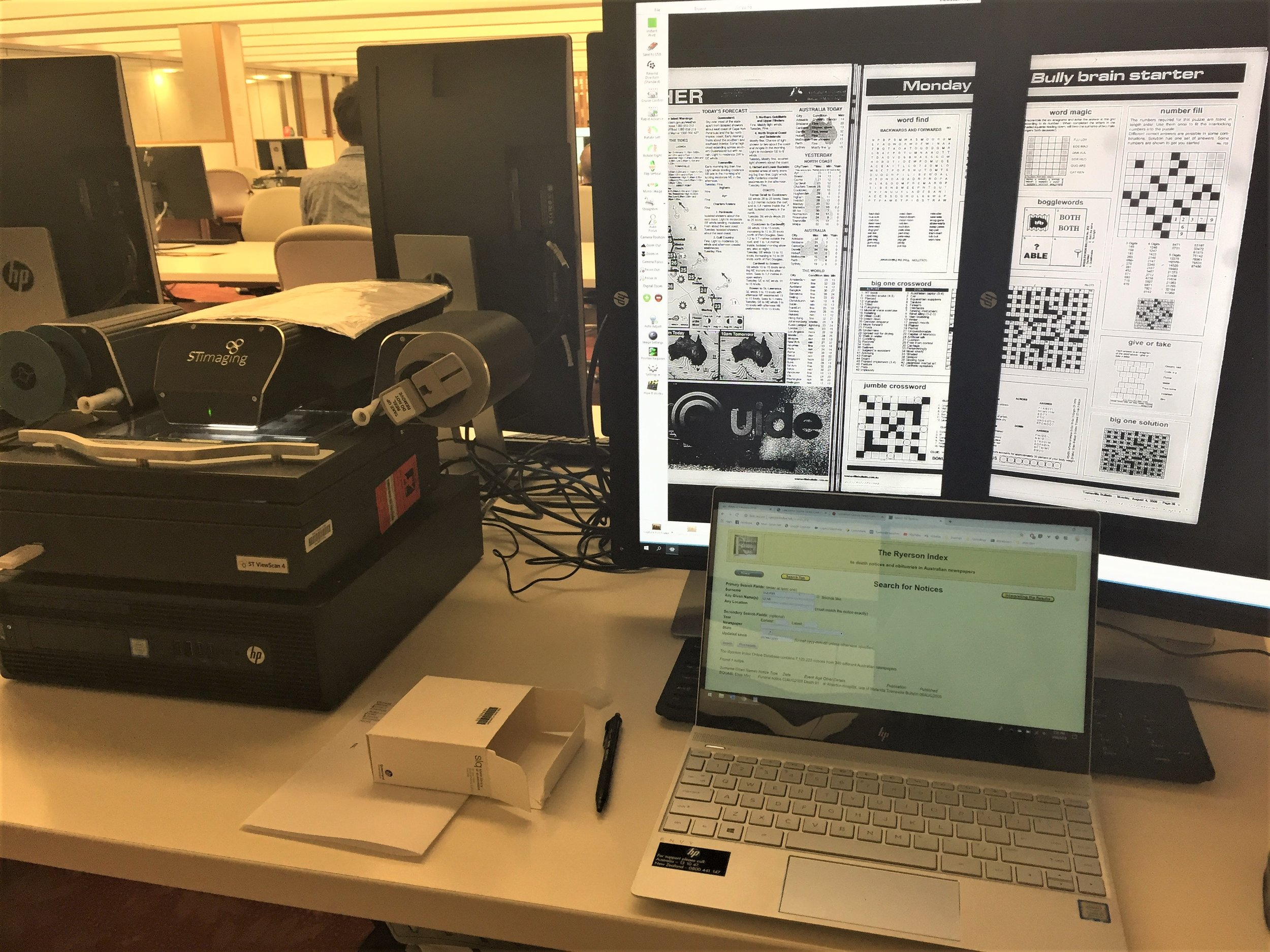 My scanning setup showing the ST ViewScan 4 on the left, dual monitors and laptop, 5 August 2019.