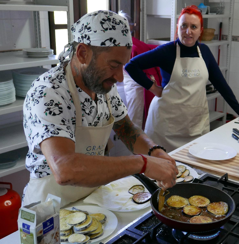 Paco prepares Berenjenas (aubergines)