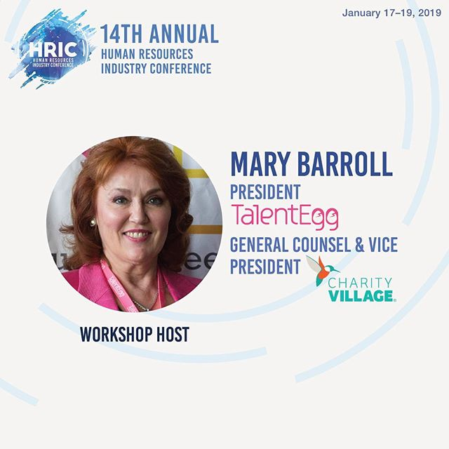 We are excited to introduce our second workshop host for the Human Resource Industry Conference (HRIC)...Mary Barroll!  In 2015, Mary took the reins as President of TalentEgg.ca, Canada's No.1, award-winning job board and online career resource that connects top employers with top students and grads. We are extremely excited to have Mary as a part of HRIC for this year!  Stay tuned as we reveal more speakers and sponsors!  January 17-19, 2019 #HRIC2019 #ryersonhrsa