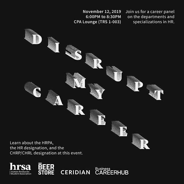 A career panel focused on the various departments/specializations in HR (Total Rewards, Talent Acquisition, Consulting, etc. ) followed by an information session from the HRPA on how to obtain your CHRP CHRL designation.⁣ ⁣ Join us on November 12, 2019 from 6:00 - 8:30 PM ⁣ ⁣ Location: TRSM CPA Lounge (7th Floor TRSM 1-003)⁣ ⁣ To apply, visit the link in our bio!