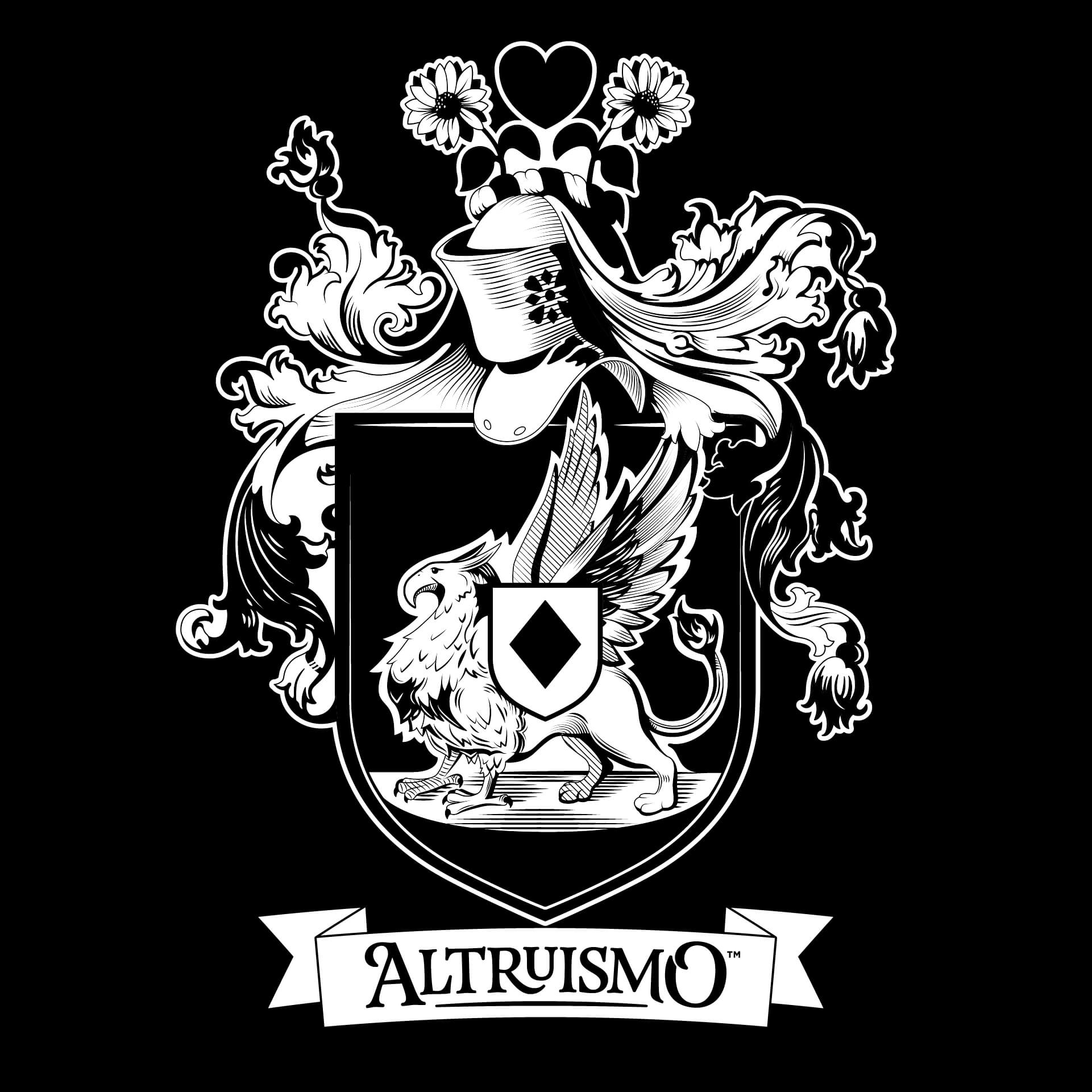 Altruismo's Crest - Full Color (for White/Light backgrounds).↓ Download EPS | ↓ Download PNGBlack and White (for White/Light backgrounds).↓ Download EPS | ↓ Download PNG—Full Color (for Black/Dark backgrounds).↓ Download EPS | ↓ Download PNGBlack and White (for Black/Dark backgrounds).↓ Download EPS | ↓ Download PNG
