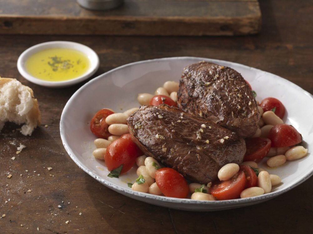 American Lamb Sirloin Chops With Tomato And White Bean