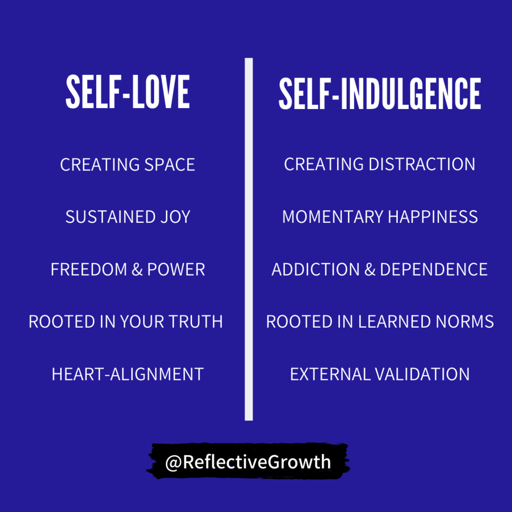 The Difference Between Self Love and Self Indulgence — Reflective ...