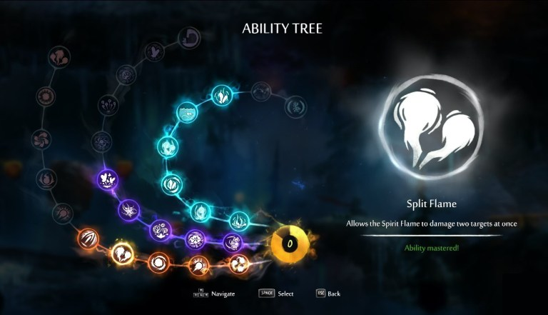 Ori and the Blind Forest  — Ori's beautiful, ethereal environment is further enhanced by this  fluid layout  of its ability tree, smooth dissolve transitions, and buttons fixed with  particle effects  to look like maaaagic.
