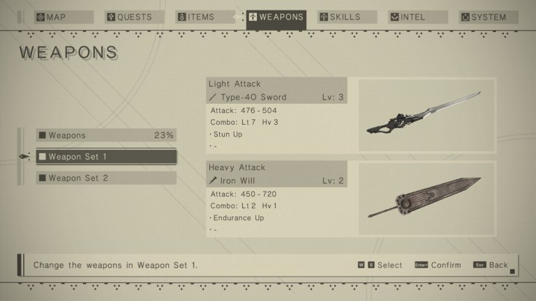 Nier Automata  — Nier's menu system enforces the  systematic style  of computers, programming, and robots that is prominent throughout its story and worldlore.