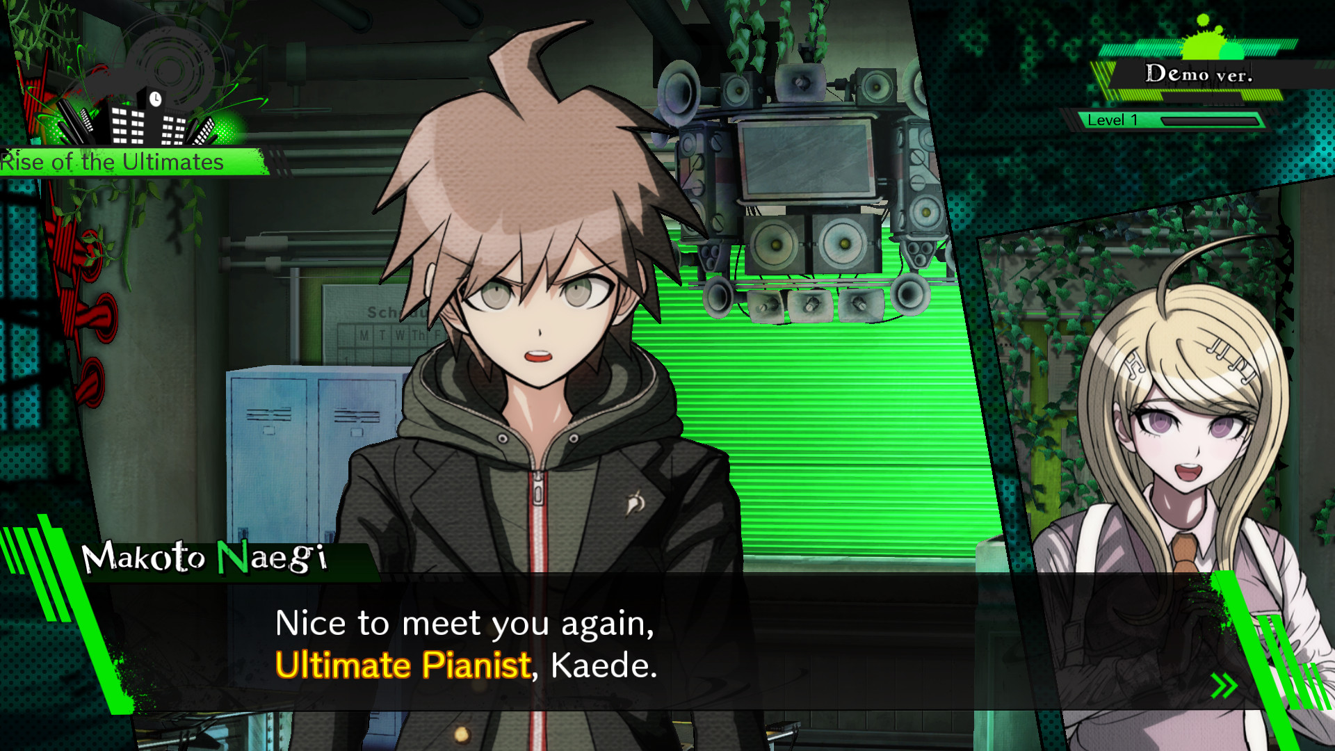 Danganronpa  —  Do.  A plain, legible serif is used for body text, and personality is added via the headers.