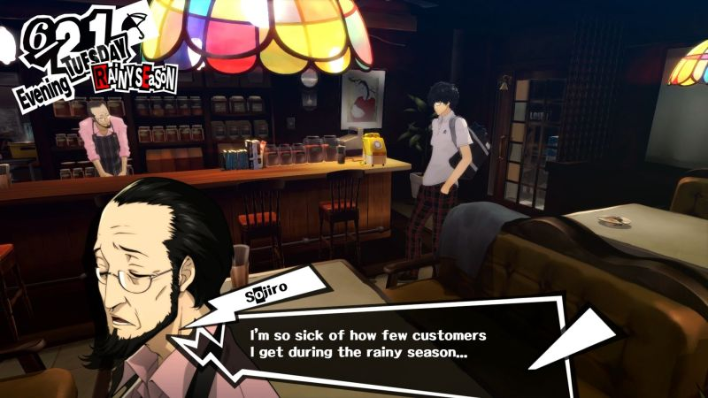 Persona 5  —  Do.  Even Persona 5, which aims for a palette of stark black, red, and white has around a 90% opacity on its dialogue textbox. You can see Sojiro's pink shirt through the black.