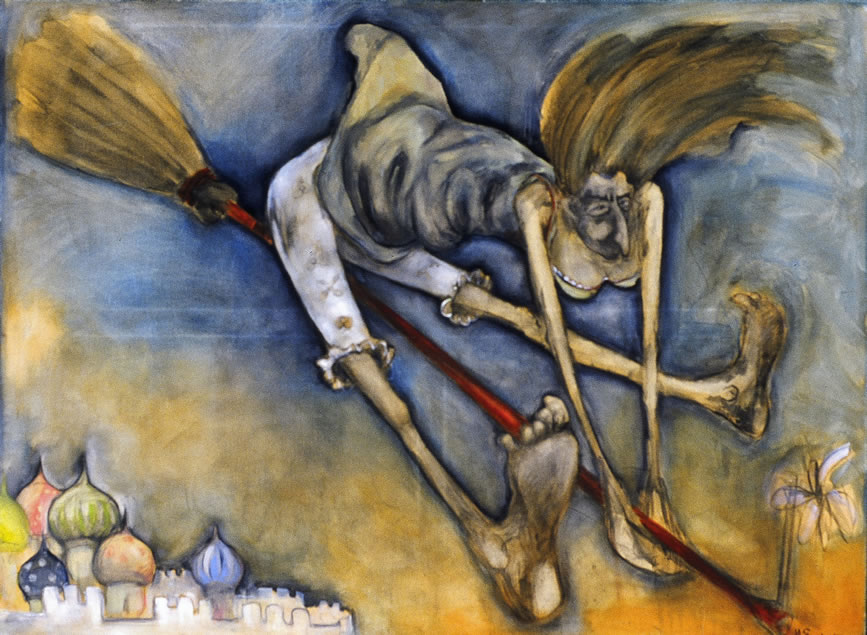"""BABA YAGA (THE HUT ON FOWLS' LEGS)  24"""" X 30""""  Value of $995 // Starting Bid: $200  Also available in 22"""" X 28"""" and other sizes upon request"""