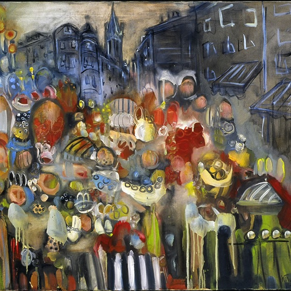 """THE MARKET PLACE AT LIMOGES  30"""" X 40""""  Value of $995 // Starting Bid: $300  Also available in 30"""" X 20"""" and other sizes upon request"""