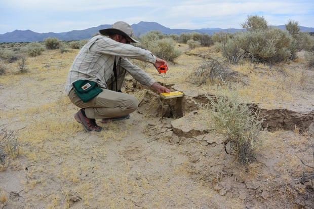 USGS geologist Christopher DuRoss measures the surface displacement from the Ridgecrest-area earthquake. Photograph: Ryan Gold/USGS