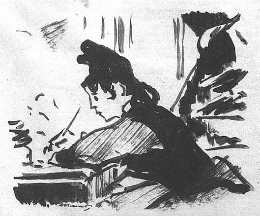 'Woman Writing' by Édouard Manet