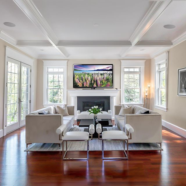 Living Room Goals 🍾 ... well one of the living rooms inside this beautifully designed 8,700 square foot home.  Currently offered by @thesarkisteam at $3,199,000.  Cc: @georgebbp @mannybbp @douglaselliman  #luxury #interior #interiordesign