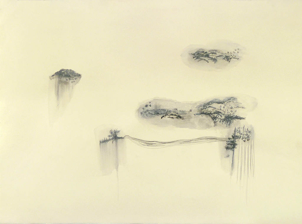 Floating Worlds  series, graphite on colour paper, 22 x 30 inches