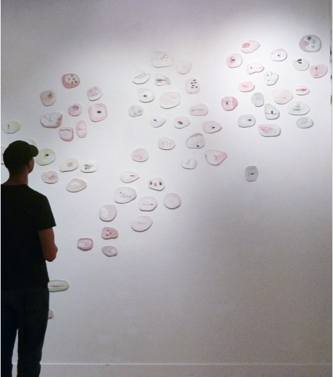 Systems, 2013, detail of gallery installation, oil on paper dimensions variable