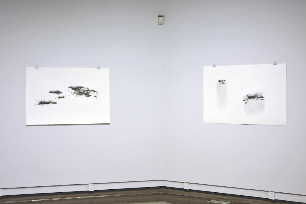 "exhibition in installation of Floating worlds drawings drawing 30 x 44 "" each"