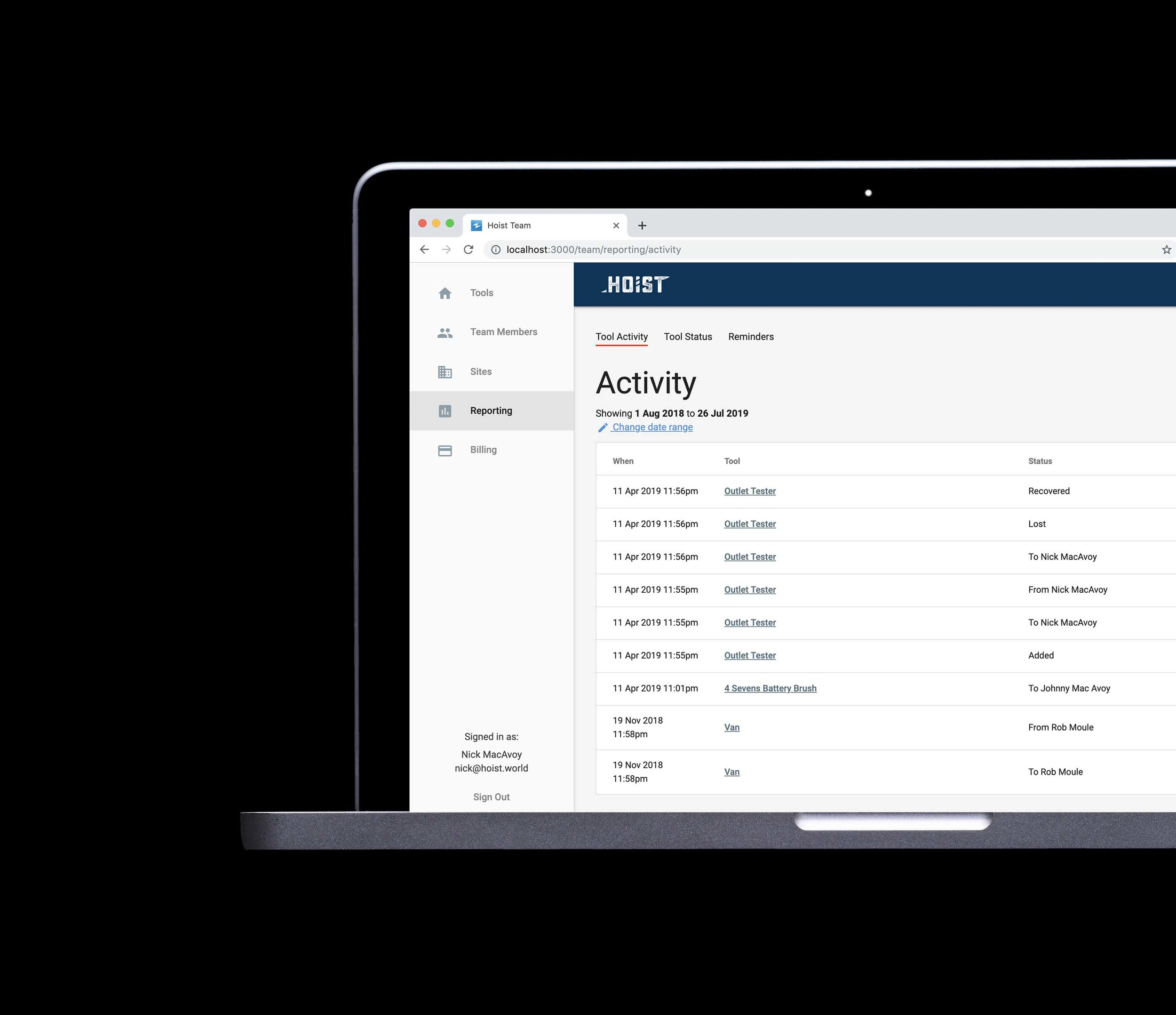 reportingmade easy - Need to see what assets have been damaged this year? Need to find out in an instant where something is and who had it last?Then Hoist Pro® has your sorted with everything from from CSV data exports to real-time activity tracking of every asset.