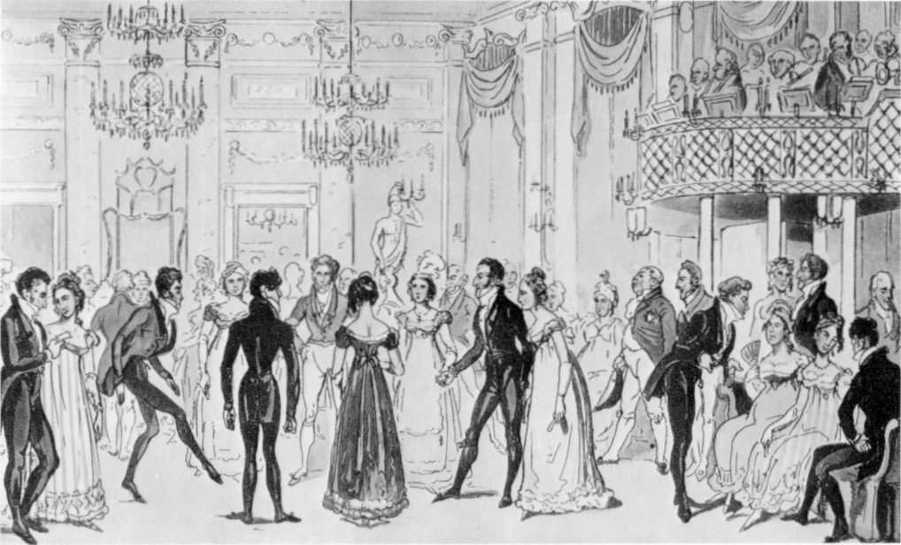 "A Ball at Almack's Assembly Rooms in London, illustration from the ""Tom and Jerry"" book (1821) by George Cruikshank"