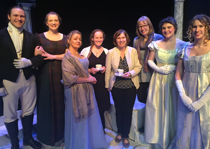 Cast of Persuasion play Calgary - Captain Wentworth, Ann Elliott, Lady Russell, Louisa, and Henrietta pose with JASNA Calgary members, Lindsey, Laurie, and Gwen.