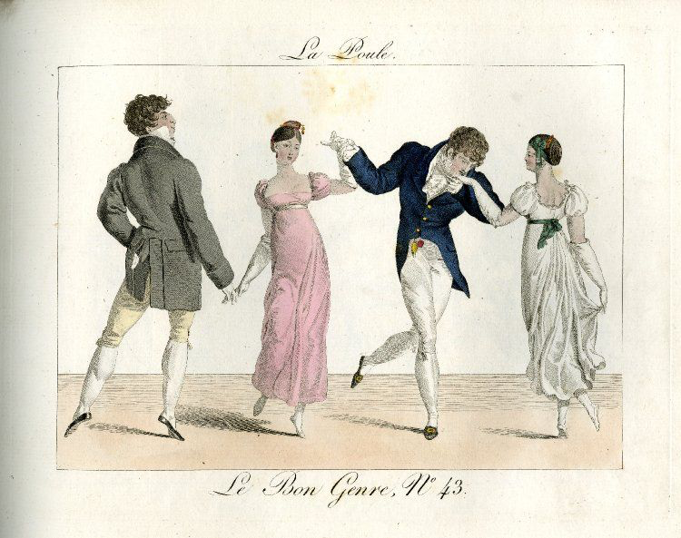 Plate 43: two couples dancing holding hands in a line. 1812 Hand-coloured etching © The Trustees of the British Museum