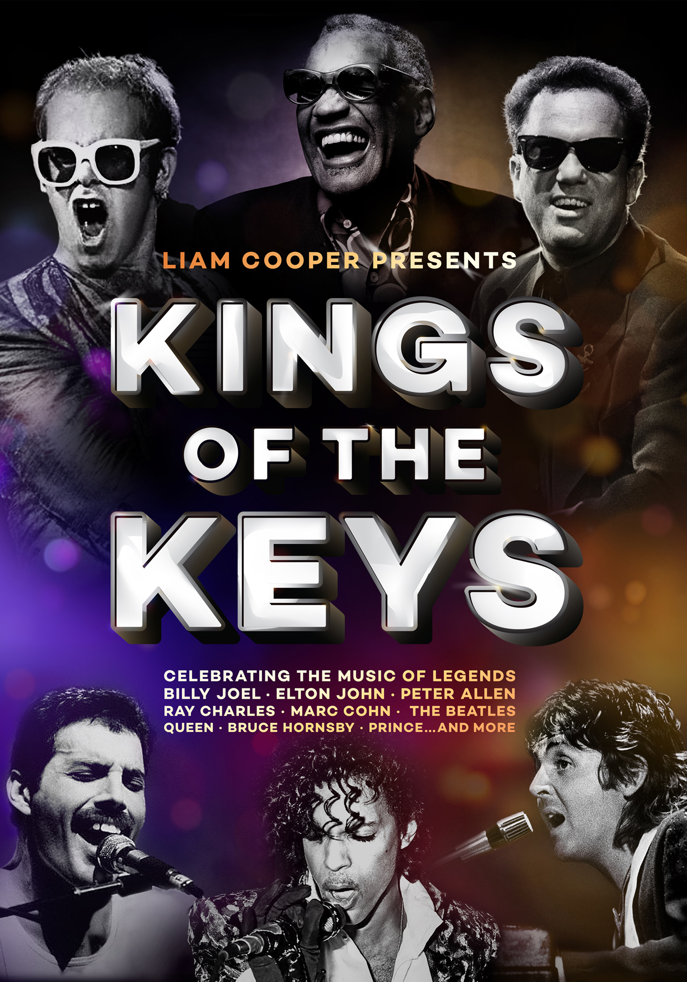 Kings of the Keys - Billy Joel, Elton John, Peter Allen, Ray Charles… these are the Kings of the Keys. Join Liam and his 6-piece band for a jam-packed tribute to more than 15 artists whose piano-driven hits have made them undeniable Kings of the Keys.  Following a sell-out premiere in 2018, Kings of the Keys is bringing the celebration of piano rock and roll royalty to stages across Sydney and regional NSW in February 2020.Sharing the meaning and inspiration behind your favourite songs, Liam will take you back to the very first time you ever heard Piano Man, Bohemian Rhapsody, Let It Be, Walking In Memphis, Rocket Man and so many more iconic piano-pop hits.Audiences can't get enough of his vibrant energy and incredible stories.From 50s rock and roll legends Little Richard and Jerry Lee Lewis, to 80s synth-pop anthems Jump and Final Countdown, and everything in between - not to mention Billy and Elton's back-catalogue of hits from the 70s and beyond - Kings of the Keys celebrates the timeless music of four incredible decades.If you're yet to experience a Liam Cooper show, don't miss Kings of the Keys. Backed by a killer live band of drums, bass, guitar and trio of horns, you've never seen such a thrilling piano-man performance.