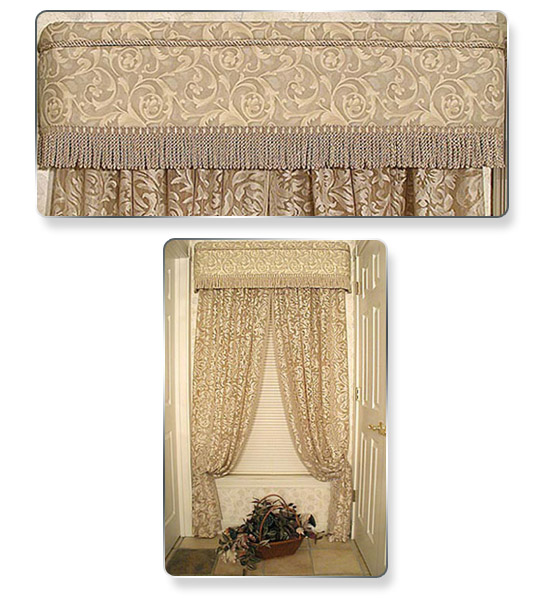 We got lucky and found a piece of inexpensive fabric that complemented the fabric of the curtain. We tucked in trim at the top and added fringe on the bottom