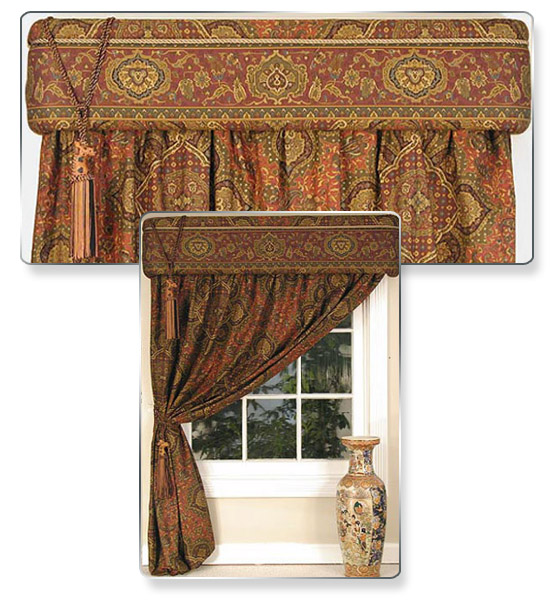 "Here you don't need a curtain rod or a blind… just one queen sheet did the job. We cut the sheet in two pieces, covered our cornice with one piece and added trim and tucked and pinned the other ""curtain"" piece of sheeting in our rear tuck slot. We added a giraffe to create more excitement. We tied it to the side with our second giraffe trim. For evening release the side giraffe for privacy. For a change in the look, we just flipped the curtain over the top of the cornice."