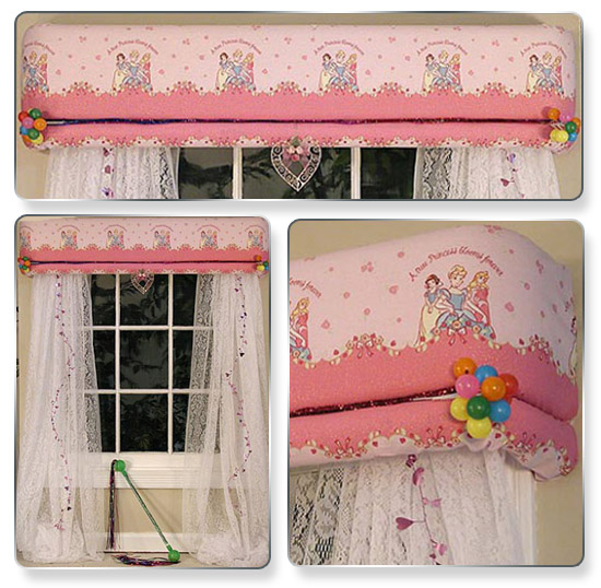 Be creative and change the style as your child grows. This look is for your little Princess. We tucked in some balloons, a beautiful shiny heart in the middle and some shiny trim. And pinned some more shiny trim to the pretty lacy curtains hanging on either side. What little girl wouldn't want this in her room?