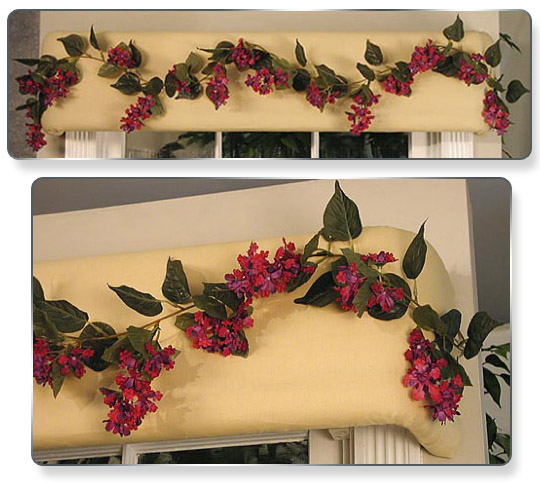 For a quick change, a lilac garland couldn't be lovelier on the same yellow fabric.
