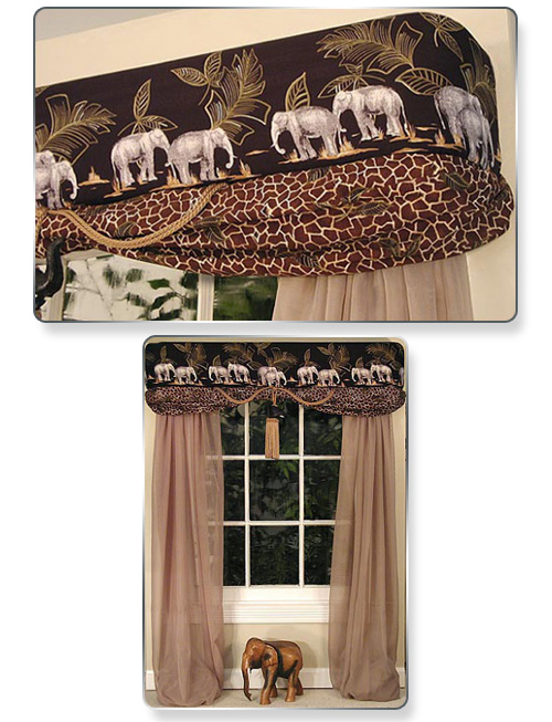 We purchased some dress fabrics with an elephant border, covered our cornice, tucked and draped leopard fabric in the bottom front tuck of the cornice and added an elephant tassel in the middle. Very dramatic.