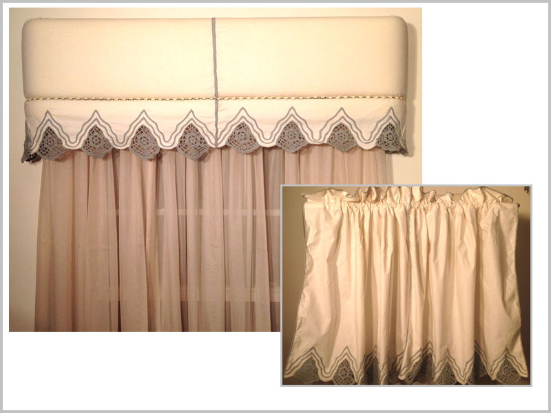 For this window covering, we used the Top Banana Cornice and simply wrapped it with a cafe curtain. Here we show the curtain and then the curtain covering the cornice. It is easy and creates a wonderful look!