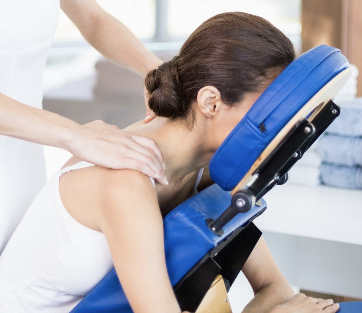 Chair Massage - 1) Sporting Events – While athletes are prime candidates for massage, it can be a challenge encouraging them to visit your medical practice.  High level sporting competitions are the perfect venue for setting up a massage chair! Let our highly skilled staff promote your business and beneficial services!2) Expos, Shows and Conventions – Typically housed in large, sprawling spaces, these events require people to be on their feet or in a chair all day long. Perfect exposure for massage and reaching large audiences! 3) Business & Corporate Offices - Benefits include increased productivity and retention rates, decreased absenteeism and ergonomic-related injuries, and lowered employee stress levels.4) Implement A Wellness Program In Your Company - Keep your employees feeling energetic, productive, and feeling good about themselves and their career.