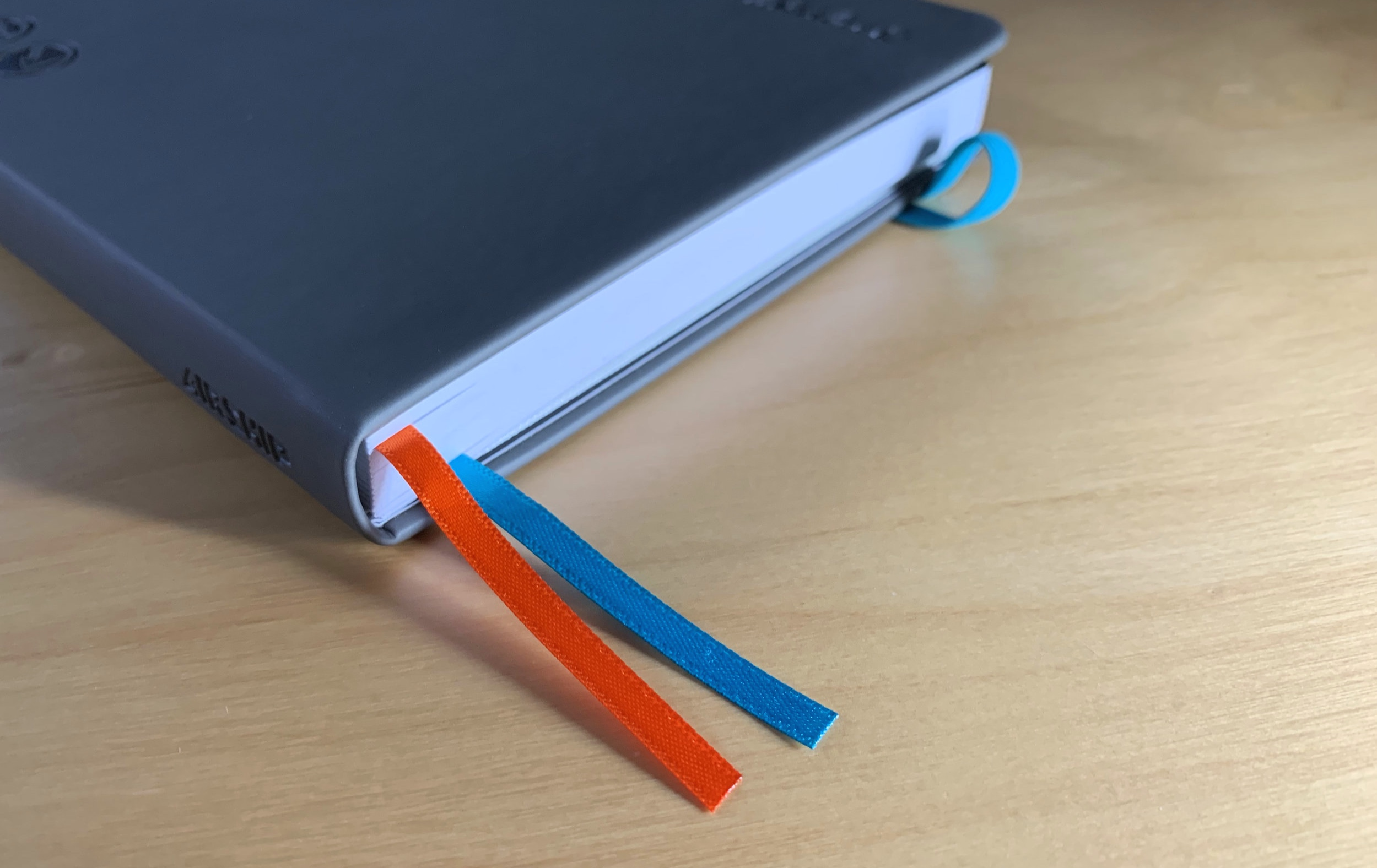 Two color ribbon bookmarks help you keep track of your work.