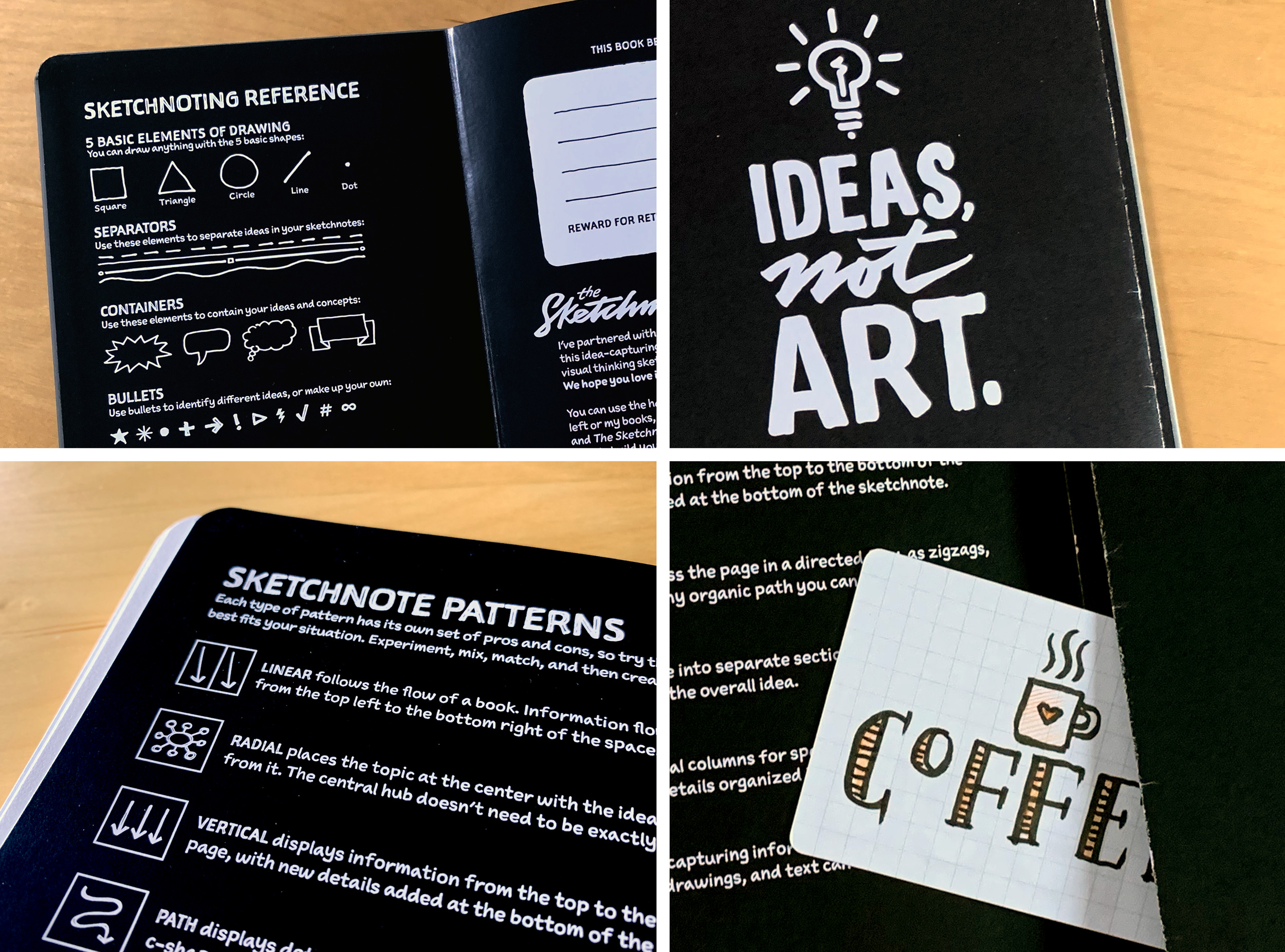 The inside front cover of the Sketchnote Ideabook features sketchnoting reference guides and a place to make the book your own.