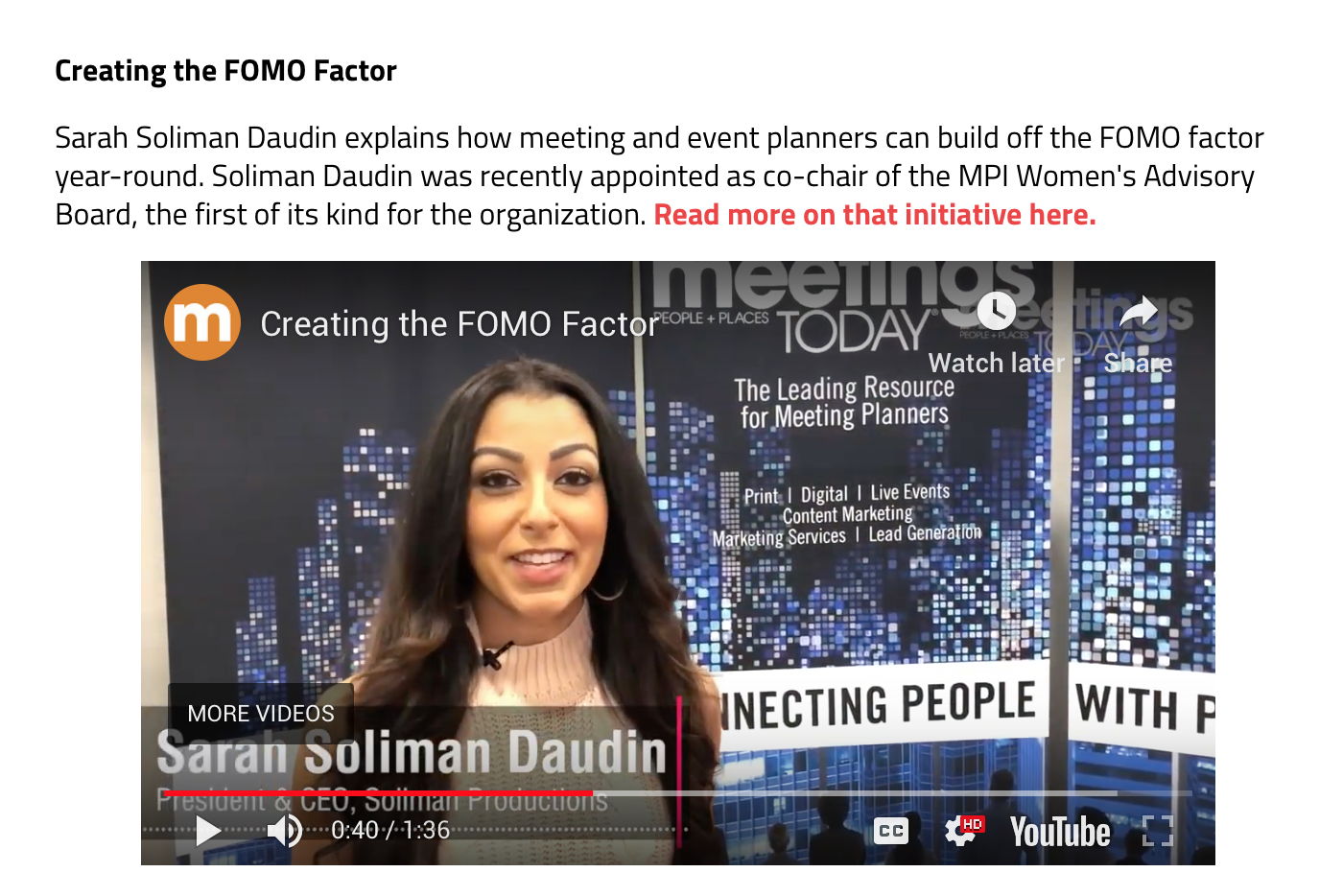 VIDEO: Creating the FOMO Factor | Meetings Today