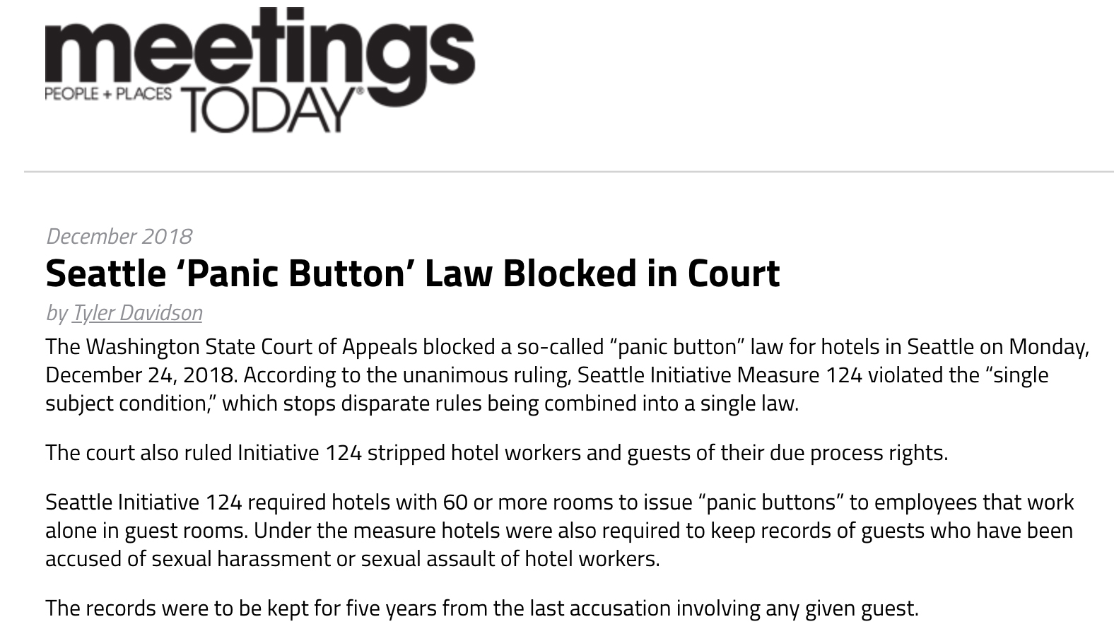 Seattle 'Panic Button' Law Blocked in Court | Meetings Today