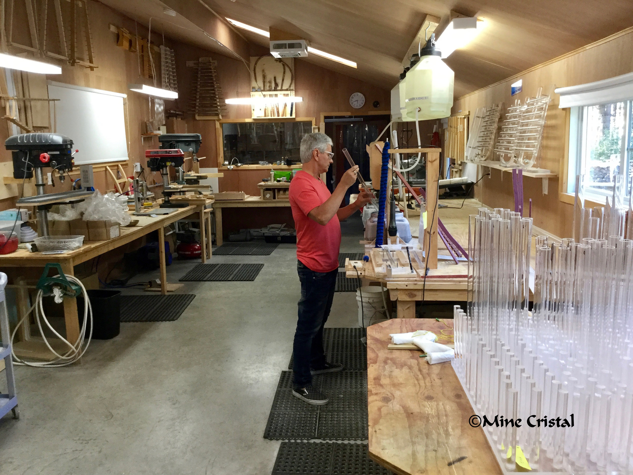 In the workshop at Mine Cristal, Bonsecours, Quebec, Canada, Gaudry Normand creates   Quartzophone  ® instruments.
