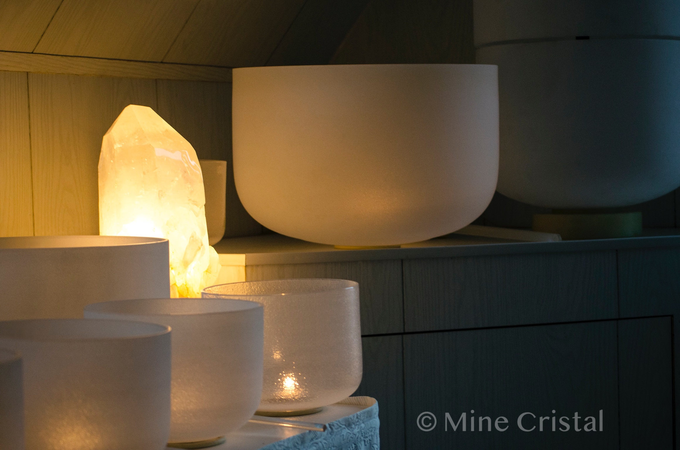 Crystal singing bowls in the concert hall.