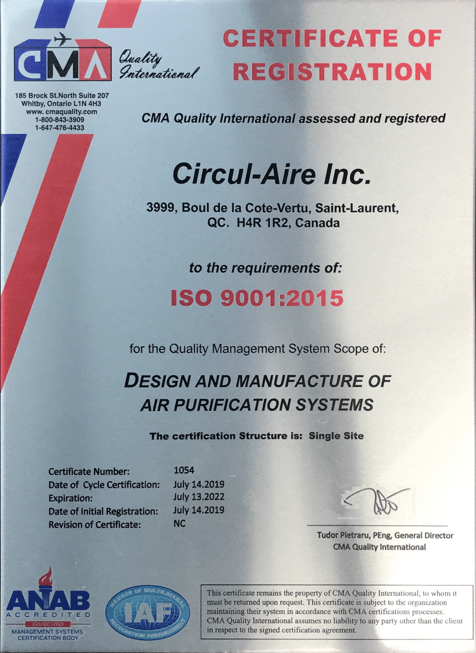 """- ISO 9001:The international standard for a quality management system (""""QMS"""")."""