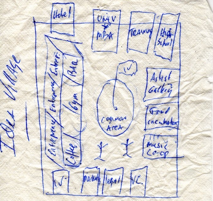 The original concept for The Idea Village was sketched on a bar napkin at the Loa Bar in downtown New Orleans..JPG