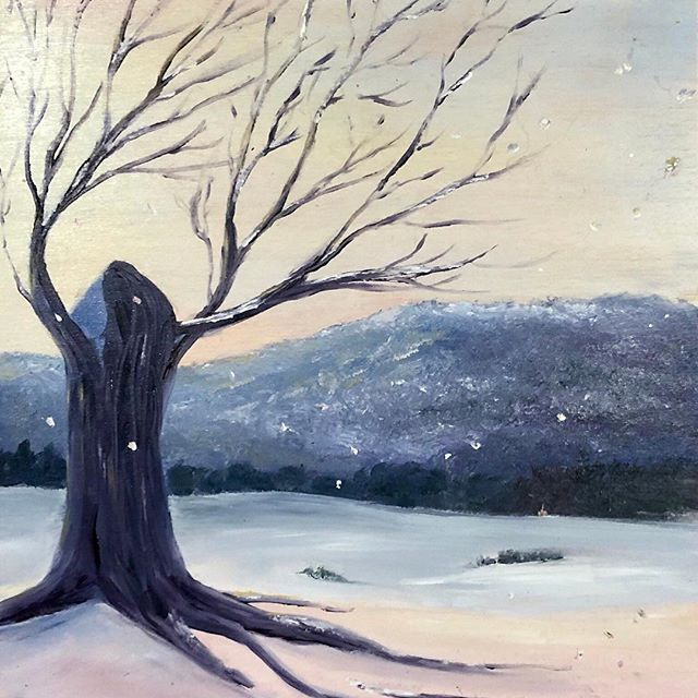 "New weird art on Etsy #etsy shop: Winter Dreaming - Oil on Cradled Panel, 9""x12"" https://etsy.me/2VSOxEO"
