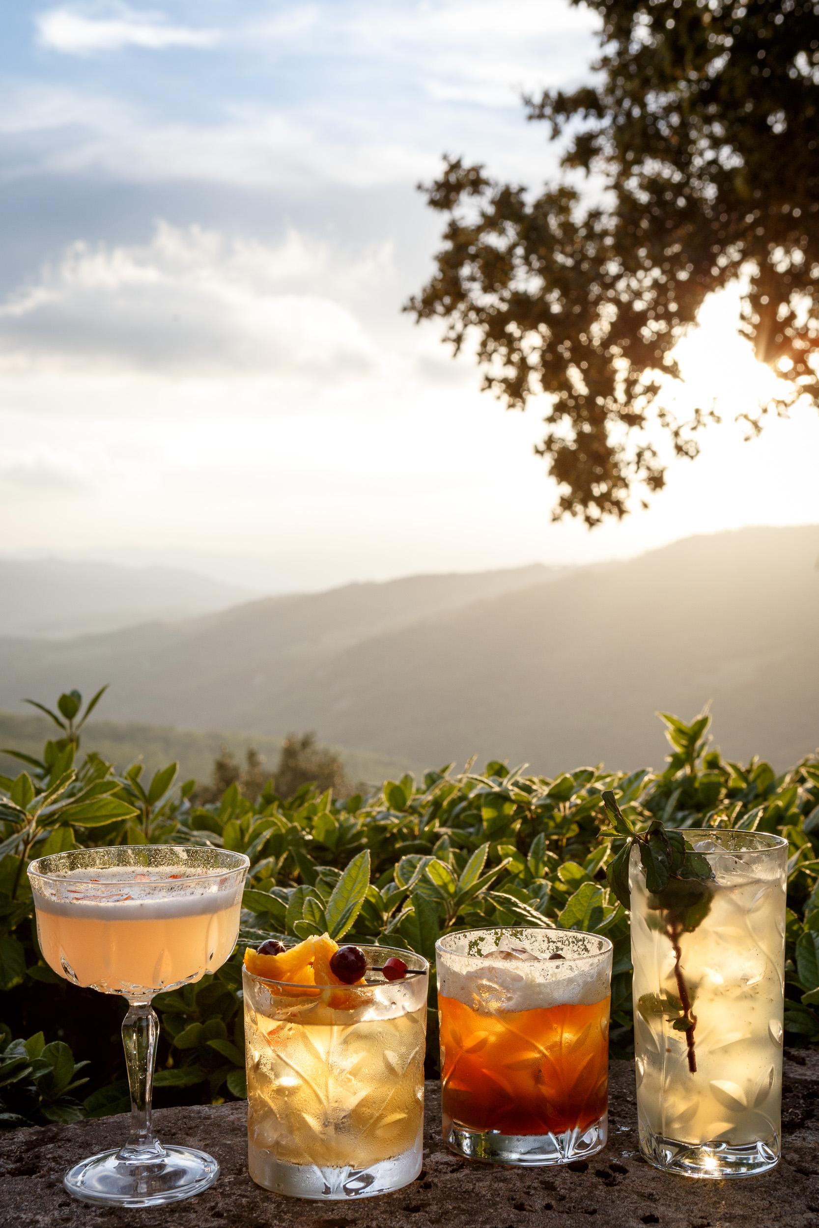 Cocktail drinks photography for Hotel Borgo Pignano