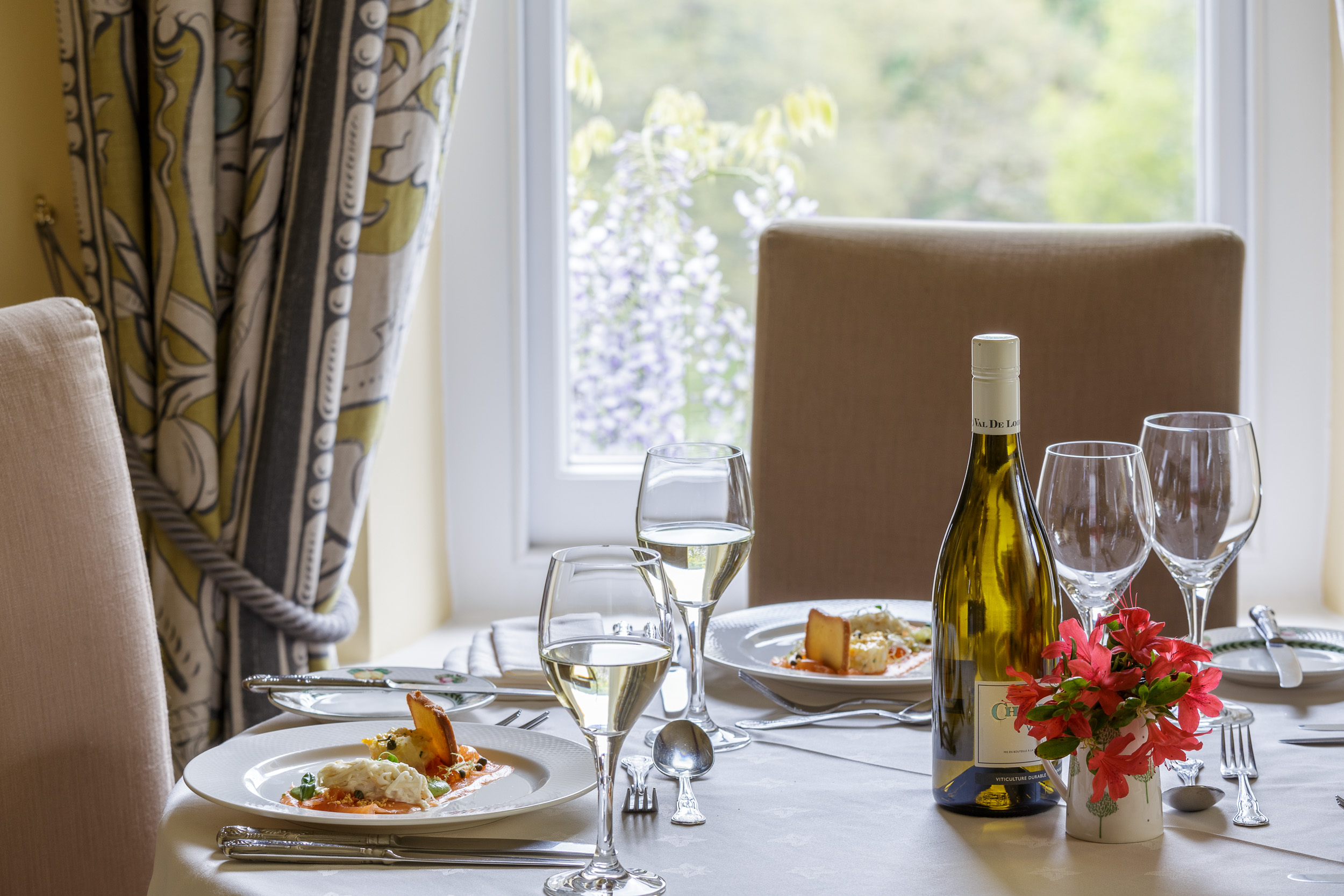 Restaurant Photography at Gliffaes Hotel, Wales
