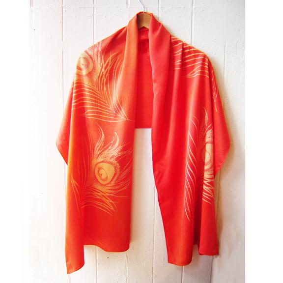 Hand dyed, silk screened scarf, 100% silk charmeuse