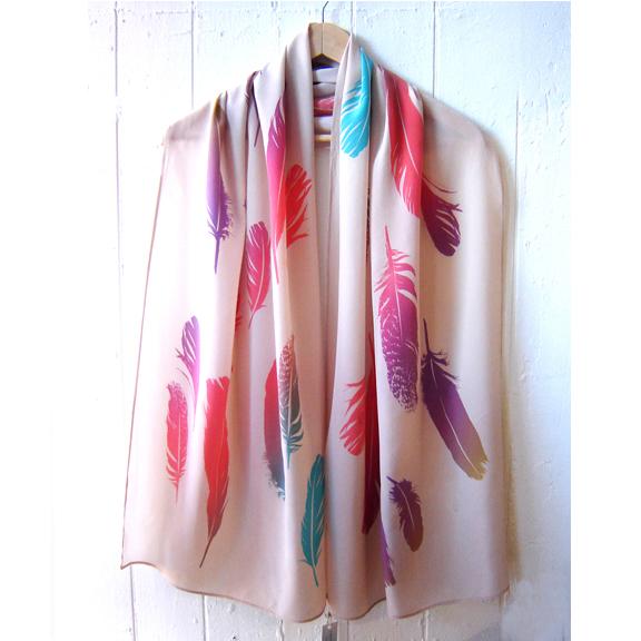 100% silk screpe de chine feather scarf